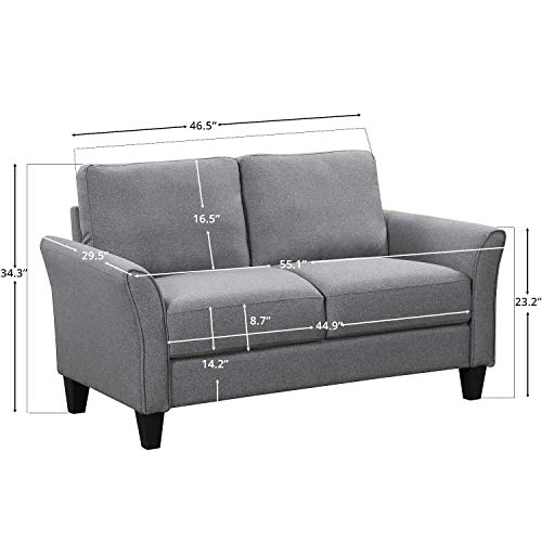HarperBright Designs Living Room Sets Furniture Armrest Sofa Single Chair Sofa Loveseat Chair 3 Seat Sofa ChairLoveseat Chair3 Seat Sofa Light Grey 0 4