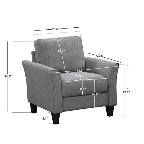HarperBright Designs Living Room Sets Furniture Armrest Sofa Single Chair Sofa Loveseat Chair 3 Seat Sofa ChairLoveseat Chair3 Seat Sofa Light Grey 0 5