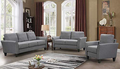 HarperBright Designs Living Room Sets Furniture Armrest Sofa Single Chair Sofa Loveseat Chair 3 Seat Sofa ChairLoveseat Chair3 Seat Sofa Light Grey 0