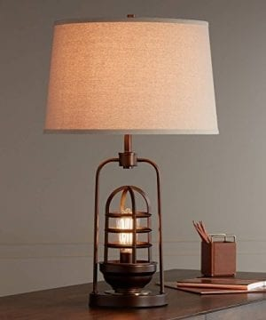Hobie Industrial Table Lamp With Nightlight LED Edison Bulb Rust Bronze Cage Drum Shade For Living Room Family Franklin Iron Works 0 1 300x360
