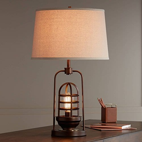 Hobie Industrial Table Lamp With Nightlight LED Edison Bulb Rust Bronze Cage Drum Shade For Living Room Family Franklin Iron Works 0 1