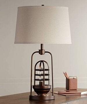 Hobie Industrial Table Lamp With Nightlight LED Edison Bulb Rust Bronze Cage Drum Shade For Living Room Family Franklin Iron Works 0 2 300x360