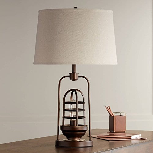 Hobie Industrial Table Lamp With Nightlight LED Edison Bulb Rust Bronze Cage Drum Shade For Living Room Family Franklin Iron Works 0 2