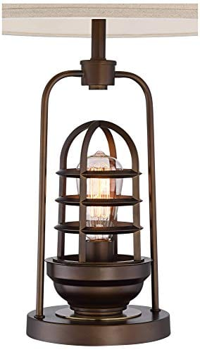 Hobie Industrial Table Lamp With Nightlight LED Edison Bulb Rust Bronze Cage Drum Shade For Living Room Family Franklin Iron Works 0 3