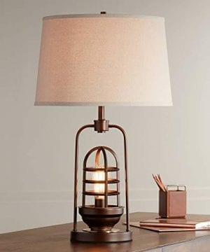 Hobie Industrial Table Lamp With Nightlight LED Edison Bulb Rust Bronze Cage Drum Shade For Living Room Family Franklin Iron Works 0 300x360