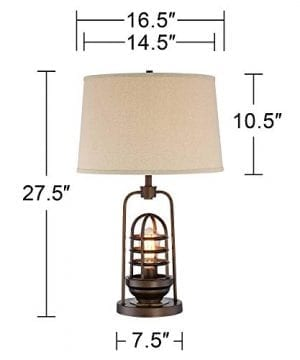 Hobie Industrial Table Lamp With Nightlight LED Edison Bulb Rust Bronze Cage Drum Shade For Living Room Family Franklin Iron Works 0 5 300x360