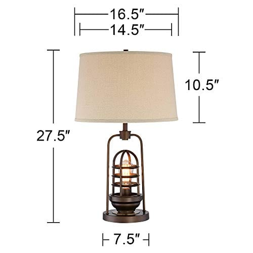 Hobie Industrial Table Lamp With Nightlight LED Edison Bulb Rust Bronze Cage Drum Shade For Living Room Family Franklin Iron Works 0 5