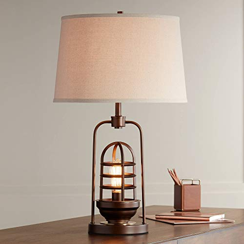Hobie Industrial Table Lamp With Nightlight LED Edison Bulb Rust Bronze Cage Drum Shade For Living Room Family Franklin Iron Works 0