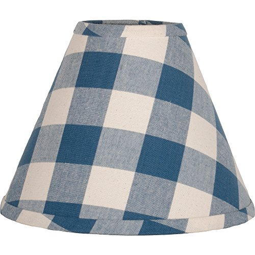 Home Collections By Raghu 16 Inch Lamp Shade Buffalo Check Colonial Blue Buttermilk Washer 0