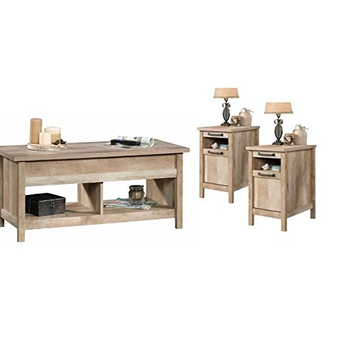 Home Square 3 Piece Coffee Table Set With Set Of 2 End Table And Coffee Table In Lintel Oak 0