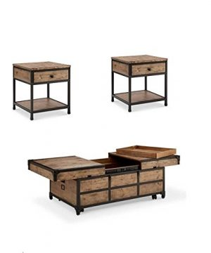 Home Square 3 Piece Coffee Table And End Table Set In Textured Natural 0 300x360