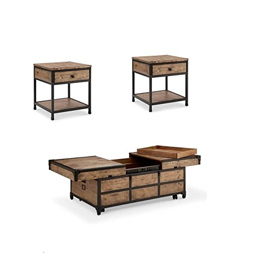 Home Square 3 Piece Coffee Table And End Table Set In Textured Natural 0