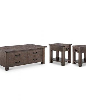 Home Square 3 Piece Farmhouse Coffee And End Table Set In Rustic Pine 0 300x360
