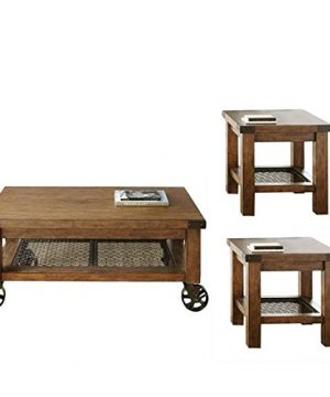 Home Square 3 Piece Industrial Coffee Table Set With Coffee Table And Set Of 2 End Table In Distressed Oak 0 300x360