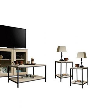 Home Square 4 Piece Living Room Set With Storage TV Stand Coffee Table And Set Of 2 End Tables In Charter Oak 0 300x360