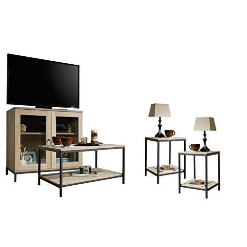 Home Square 4 Piece Living Room Set With Storage TV Stand Coffee Table And Set Of 2 End Tables In Charter Oak 0