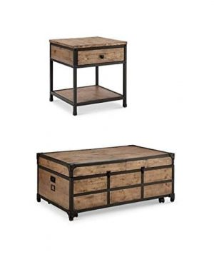 Home Square Coffee Table And End Table Set In Textured Natural 0 300x360