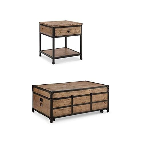 Home Square Coffee Table And End Table Set In Textured Natural 0