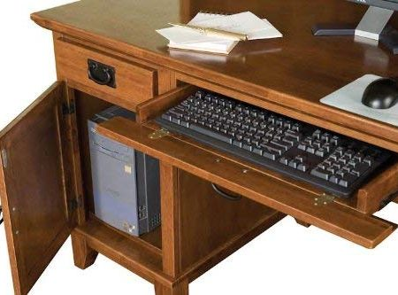Home Style Arts And Crafts Double Pedestal Desk And Hutch Cottage