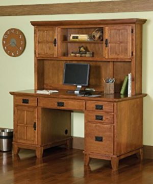 Home Style 5180 184 Arts And Crafts Double Pedestal Desk And Hutch Cottage Oak Finish 0 300x360