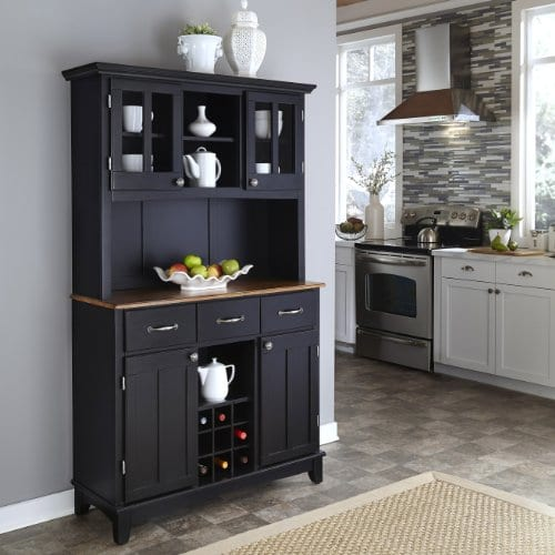 Home Styles 5100 0046 42 Buffet Of Buffets Cottage Oak Wood Top Buffet With Hutch Black Finish 41 34 Inch 0 0