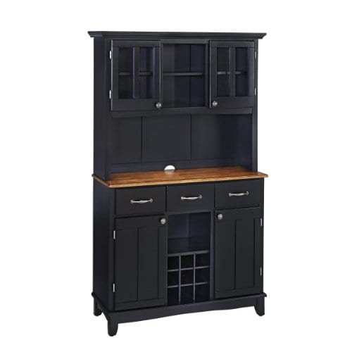 Home Styles 5100 0046 42 Buffet Of Buffets Cottage Oak Wood Top Buffet With Hutch Black Finish 41 34 Inch 0