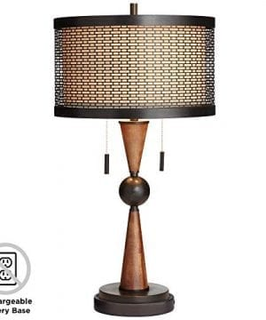 Hunter Bronze Cherry Wood Table Lamp With Battery Pack Lamp Base Franklin Iron Works 0 300x360