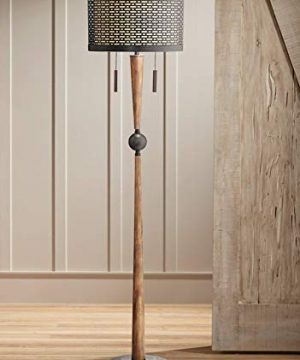 Hunter Mid Century Modern Floor Lamp Cherry Wood Perforated Metal Cream Linen Double Shade For Living Room Bedroom Franklin Iron Works 0 300x360