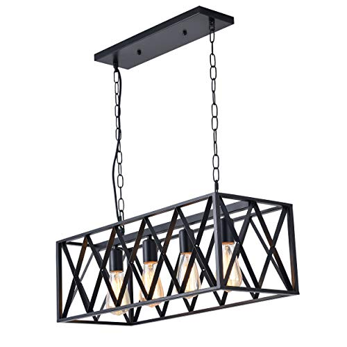 ISRAMP Kitchen Island Lighting Fixtures 4 Light Rectangle Iron Matte Black Shade Industrial Pendant Light Rustic Farmhouse Chandelier 0 0