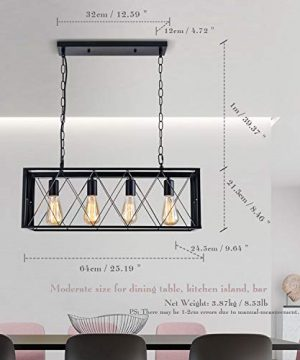 ISRAMP Kitchen Island Lighting Fixtures 4 Light Rectangle Iron Matte Black Shade Industrial Pendant Light Rustic Farmhouse Chandelier 0 1 300x360