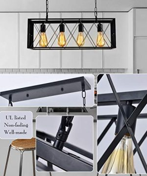 ISRAMP Kitchen Island Lighting Fixtures 4 Light Rectangle Iron Matte Black Shade Industrial Pendant Light Rustic Farmhouse Chandelier 0 2 300x360