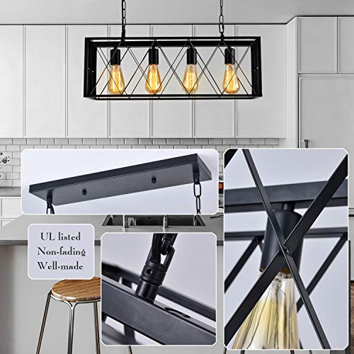 ISRAMP Kitchen Island Lighting Fixtures 4 Light Rectangle Iron Matte Black Shade Industrial Pendant Light Rustic Farmhouse Chandelier 0 2