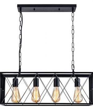 ISRAMP Kitchen Island Lighting Fixtures 4 Light Rectangle Iron Matte Black Shade Industrial Pendant Light Rustic Farmhouse Chandelier 0 300x360