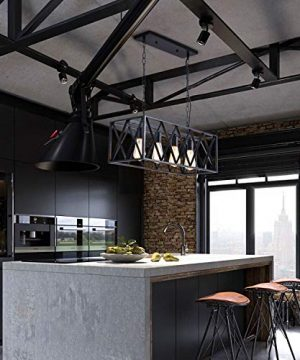 ISRAMP Kitchen Island Lighting Fixtures 4 Light Rectangle Iron Matte Black Shade Industrial Pendant Light Rustic Farmhouse Chandelier 0 4 300x360
