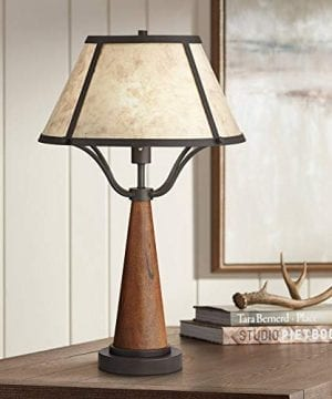 Idyllwild Rustic Table Lamp Warm Wood And Metal Light Mica Shade For Living Room Bedroom Nightstand Office Family Franklin Iron Works 0 300x360