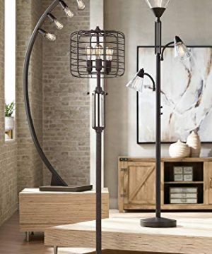 Industrial Floor Lamp Rustic Bronze Open Metal Cage 3 Light LED Edison Bulbs Dimmable For Living Room Bedroom Franklin Iron Works 0 1 300x360