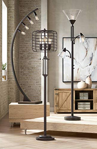 Industrial Floor Lamp Rustic Bronze Open Metal Cage 3 Light Antique Led Edison Bulbs Dimmable For Living Room Bedroom Franklin Iron Works