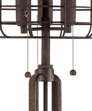 Industrial Floor Lamp Rustic Bronze Open Metal Cage 3 Light LED Edison Bulbs Dimmable For Living Room Bedroom Franklin Iron Works 0 2 300x360