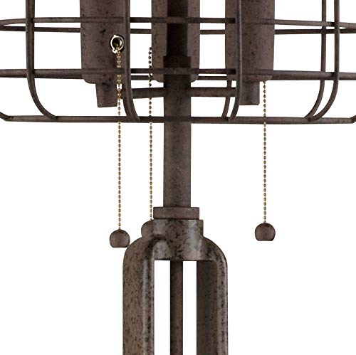 Industrial Floor Lamp Rustic Bronze Open Metal Cage 3 Light LED Edison Bulbs Dimmable For Living Room Bedroom Franklin Iron Works 0 2