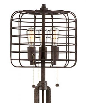 Industrial Floor Lamp Rustic Bronze Open Metal Cage 3 Light LED Edison Bulbs Dimmable For Living Room Bedroom Franklin Iron Works 0 3 300x360