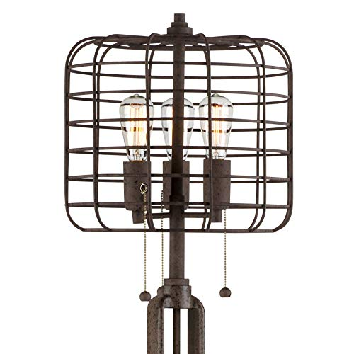 Industrial Floor Lamp Rustic Bronze Open Metal Cage 3 Light LED Edison Bulbs Dimmable For Living Room Bedroom Franklin Iron Works 0 3