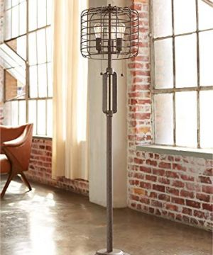 Industrial Floor Lamp Rustic Bronze Open Metal Cage 3 Light LED Edison Bulbs Dimmable For Living Room Bedroom Franklin Iron Works 0 300x360