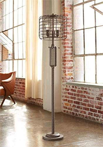 Industrial Floor Lamp Rustic Bronze Open Metal Cage 3 Light LED Edison Bulbs Dimmable For Living Room Bedroom Franklin Iron Works 0