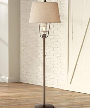 Industrial Floor Lamp With Nightlight LED Edison Bronze Burlap Drum Shade For Living Room Reading Bedroom Franklin Iron Works 0 300x360