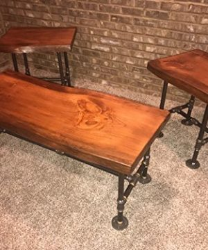 Industrial Pipe And Wood Coffee And End Table Set Live Edge Rustic Vintage Honey Pine 0 0 300x360