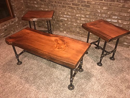 Industrial Pipe And Wood Coffee And End Table Set Live Edge Rustic Vintage Honey Pine 0 0