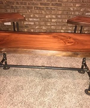 Industrial Pipe And Wood Coffee And End Table Set Live Edge Rustic Vintage Honey Pine 0 1 300x360