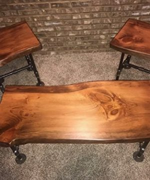 Industrial Pipe And Wood Coffee And End Table Set Live Edge Rustic Vintage Honey Pine 0 300x360