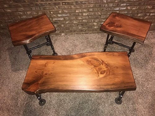 Industrial Pipe And Wood Coffee And End Table Set Live Edge Rustic Vintage Honey Pine 0