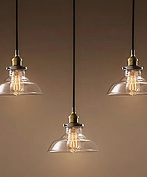 Industrial Retro Country Style Clear Glass Island Chandelier LITFAD 5 Lights Pendant Light With Clear Cone Glass Shade Antique Ceiling Light 0 0 300x360